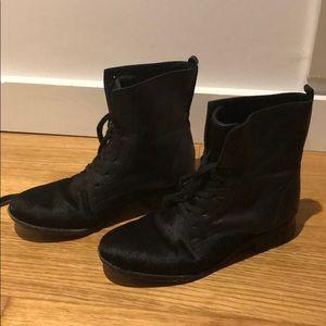 Freda Salvador black leather and calf hair boots
